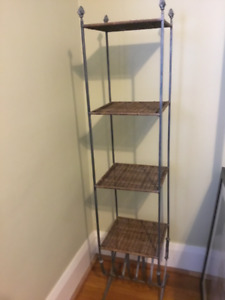 Decorative Solid Iron/Wicker Shelving Unit For Sale