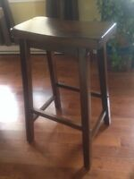 3 solid wood saddle bar stools
