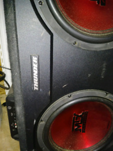 """Mtx thunder 12"""" subs and amp in spec box"""