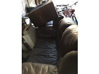 One 2-Seater Brown Leather Sofa - Free To Collector