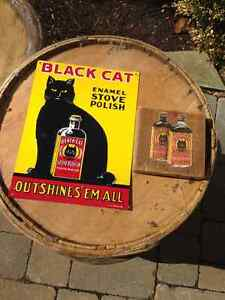 BLACK CAT STOVE POLISH SIGN + PICTURE  - PARKER PICKERS -