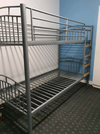 Bunk bed/ two single size bed/ grey metal