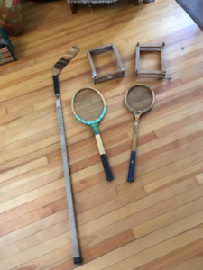 Vintage hockey, tennis, badminton