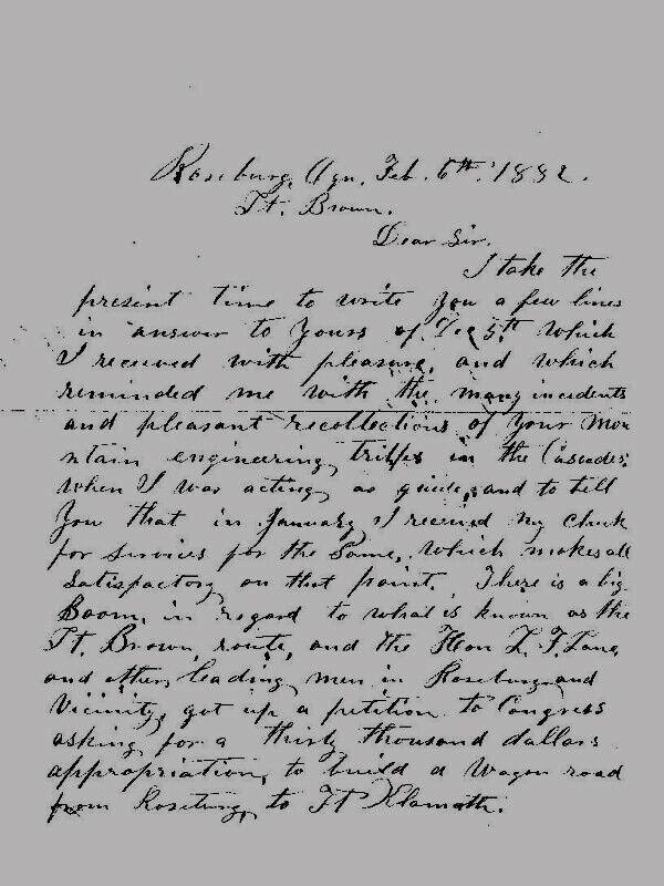 Rosenburg, Oregon - (FORT BROWN) LETTER 1882 - Transcribed