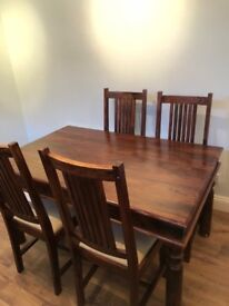 John Lewis Maharani 6 seater table + 4 Upholstered Dining Chairs
