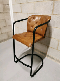 Vintage Tufted Tan Aniline Leather Industrial Bar Stool/ Chair