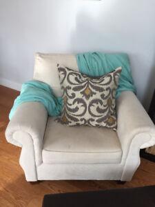 Super comfortable plush cream coloured sofa chair