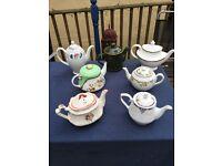 Selection vintage teapots.