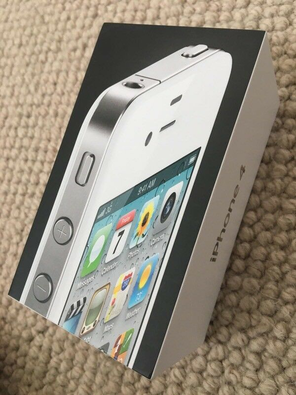 White Iphone 4 In Working Condition With Box Charger And