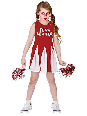 Fear Leader Girls Zombie Cheerleader Fancy Dress Halloween Childs Kids Costume - Halloween Kids Zombie Cheerleader Costume