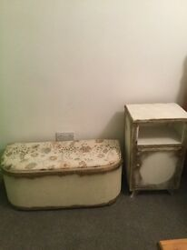 Lovely Lloyd loom style ottoman and matching bed side,
