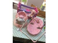 Baby toy cot, toy swing chair and toy pull along walker