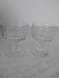 8 x Vintage Luminarc France Glass Prawn Cocktail/ Sundae Dishe Bowls