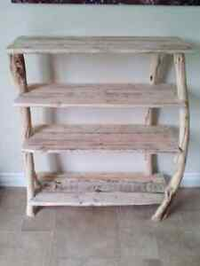 Natural wood shoe stand/shelf/table.