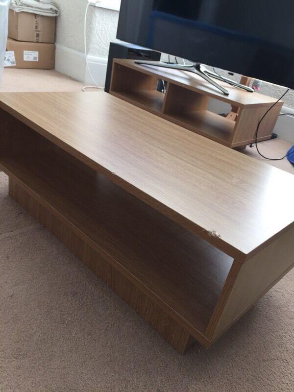 argos oak cube coffee table & tv unit | in swansea | gumtree