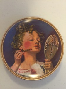 Rockwell 'Making Believe in the Mirror' Plate with hanger