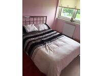 Double bed with metal frame