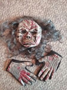 Halloween scary Zombie like face mask with hair and gloves