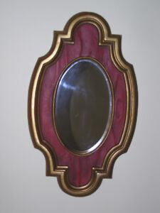 Decorative Small Wall Mirror With Burgundy Gold Tone Like New