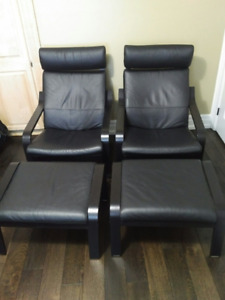 Ikea Poang Black Leather Armchairs w/ Footstools
