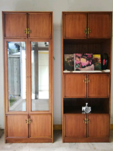 Pair of Large wood cabinet display cases
