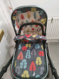 Cosatto quad pushchair, with carseat, bassinet, and isofix for car.