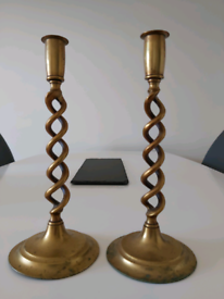 Brass twisted candle holders