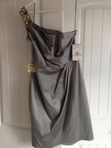 Silver/Grey Cocktail dress Size 6 New With Tags