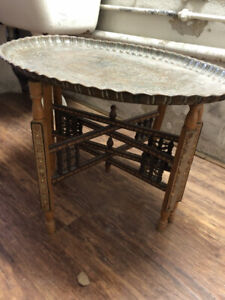 Antique Inlaid Folding Brass Tray Table