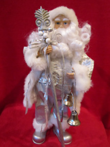 """Holiday 16"""" Silver with White Fur Velour Santa Clause Figurine C"""