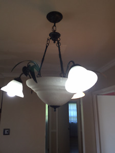 Frosted glass and Iron ceiling light fixture