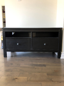 Classic dark wood matte TV stand with two shelves and 2 drawers