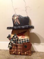 Cute Snowman shelf and pegs front entry mitts scarves