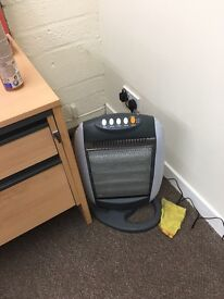 Office desks. Chairs. Heaters. Phones.