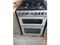 Gas cooker free standing gas hob grill oven glass splash back silver good working order