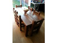 Rustic Dining Table Chunky hand made light oak finish