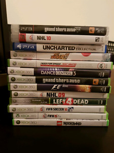 Xbox 360, ps3 and ps4 games