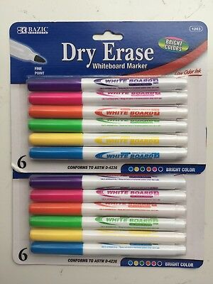 2 Packs Dry Erase White Board Markers Fine Point Tip 6 Bright