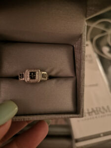 10k black and white diamond ring