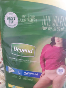 Depends Large and XL woman diapers 7$ a pack.