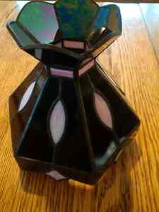 Beautiful Black & Pink Stained Glass Lamp shade For Sale