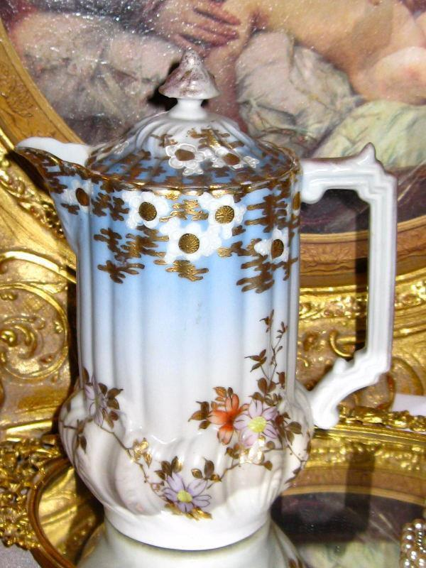 Large Nippon Hand Painted Floral Etched Gold Porcelain Chocolate Coffee Tea Pot