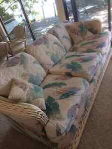 Wicker Floral White Couch & Chair