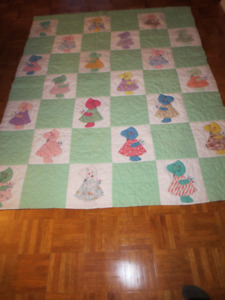 Vintage Handmade Quilt Double 21 Dolls over 50 years old Quilt w