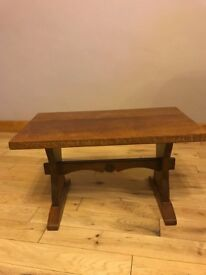 Locally crafted oak small coffee table with Yorkshire rose detail