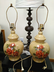 Pair (2) - Early 1960s Ceramic Table Lamps, Beautiful