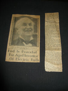 RARE 1931 Thomas Alva Edison Newspaper Obituary