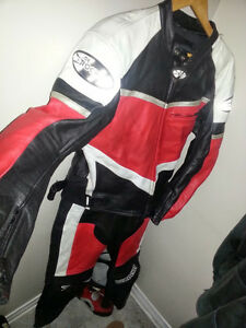 Motorcycle Suit + Helmet - Jacket, Pants, Boots, Gloves + Helmet