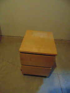 Two drawer,  light brown dresser