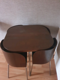 IKEA dining table and chairs chocolate brown with silver metal legs